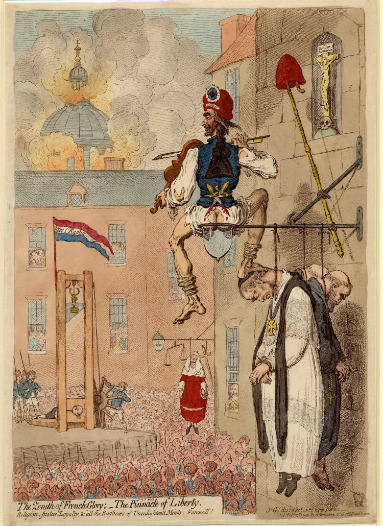James Gillray - The Zenith of French Glory: The Pinnacle of Liberty (1793)